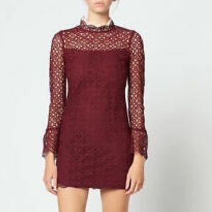 Sandro Bordeaux Short Lace Dress